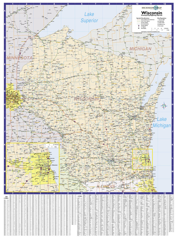 Wisconsin Zip Code Map Hudson Map Company - Map of wisconsin with cities