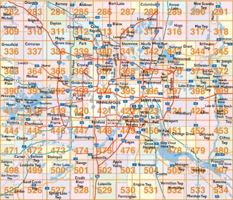Twin Cities Zip Code Map Hudson's Twin City Wall Map   Hudson Map Company